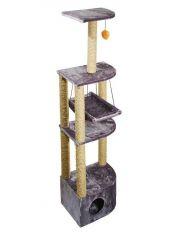 Домик - когтеточка 4-х уровневый угловой с гамаком