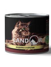 Полноценный сбалансированный влажный корм для взрослых кошек индейка с кроликом