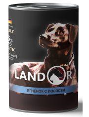 Полноценный сбалансированный влажный корм для собак всех пород ягненок с лососем