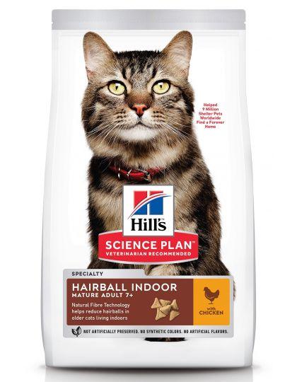 Science Plan Hairball Indoor 7+ для выведения шерсти у домашних кошек старшего возраста, с курицей