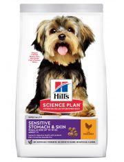 Hill's Science Plan Sensitive Skin & Stomach - Small & Miniature сухой корм для собак мелких и миниатюрных пород от 1 до 6 лет для здоровья ЖКТ, кожи и шерсти с курицей