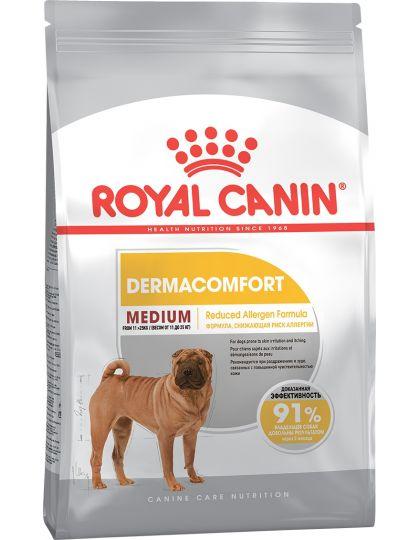 Medium Dermacomfort для взрослых и стареющих собак средних размеров (весом от 11 до 25 кг) при раздражениях и зуде кожи, связанных с повышенной чувствительностью