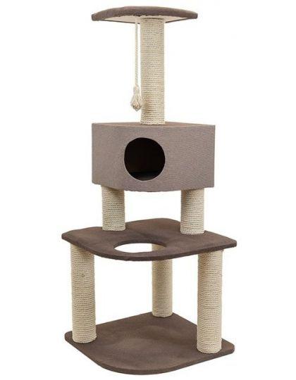 Комплекс-когтеточка Хайтек 3-х уровневый угловой с домиком