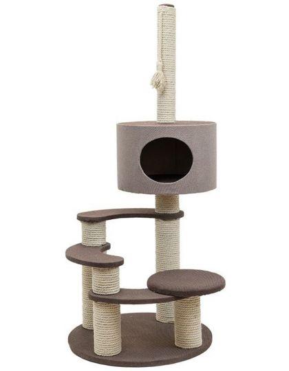 Комплекс-когтеточка Хайтек 4-х уровневый круглый с домиком