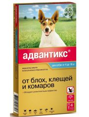 Капли на холку Адвантикс® от клещей, блох и комаров для собак от 4 до 10 кг