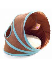 Лежанка-туннель для кошек, коричневая