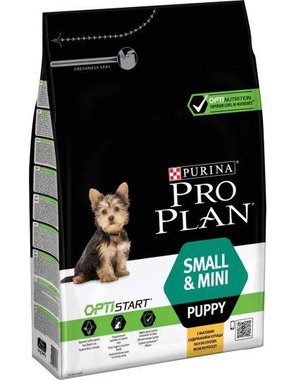 Small & Mini Puppy с комплексом Optistart сухой полнорационный корм для щенков мелких и карликовых пород, курица/рис