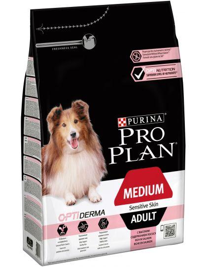 Medium Adult Sensitiv корм для взрослых собак средних породс чувствительной кожей, с комплексом Optiderma, лосось/рис