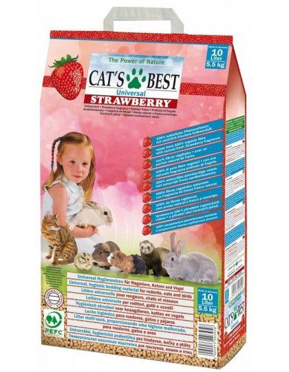 Universal Strawberry древесный ароматизированный наполнитель с ароматом клубники