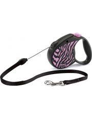 Рулетка Safari Zebra трос, розовая