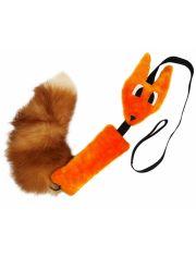 Игрушка для собаки лиса шуршик оранжевый с натуральным хвостом
