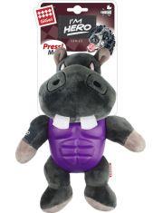 Бегемот с пищалкой в резиновой защите игрушка для собак