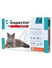 INSPECTOR Quadro капли для кошек от 4 до 8 кг от внешних и внутренних паразитов
