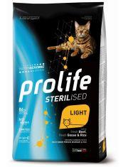 Sterilised Light Adult корм со свежей говядиной, гусем и рисом для кошек с избыточным весом и/или стерилизованных кошек.