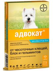 Капли на холку Адвокат® от чесоточных клещей, блох и глистов для собак от 4 до 10кг