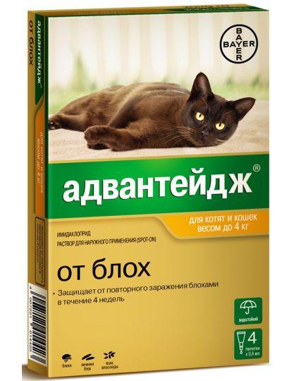 Капли на холку Адвантейдж®  от блох для котят и кошек до 4 кг