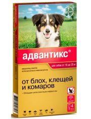 Капли на холку Адвантикс® от клещей, блох и комаров для собак от 10 до 25 кг–