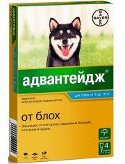 Капли на холку Адвантейдж®  от блох для собак от 4 до 10 кг