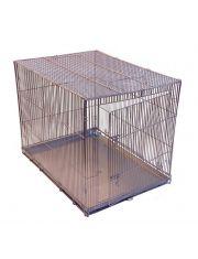 Клетка-переноска для собак №4, с метал. поддоном, складная, хром