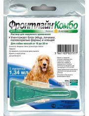 Фронтлайн Комбо для собак 10-20 кг (M) – для защиты от клещей, блох в форме капель