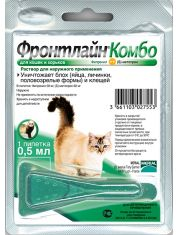Фронтлайн Комбо для кошек и хорьков – для защиты от клещей, блох в форме капель