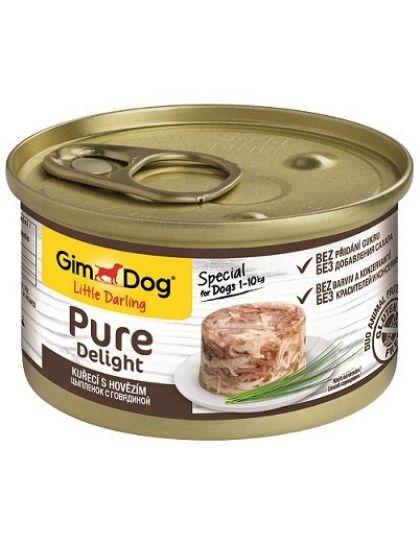 GimDog Pure Delight консервы для собак из цыпленка с говядиной