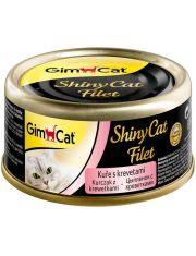 GimCat ShinyCat Filet консервы для кошек из цыпленка с креветками
