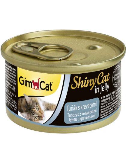 GimCat ShinyCat консервы для кошек из тунца с креветками