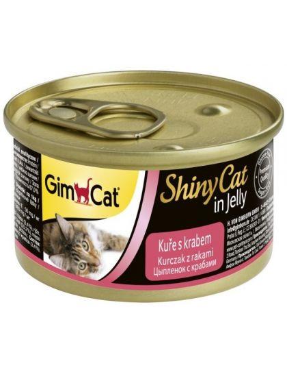GimCat ShinyCat консервы для кошек из курицы с крабом