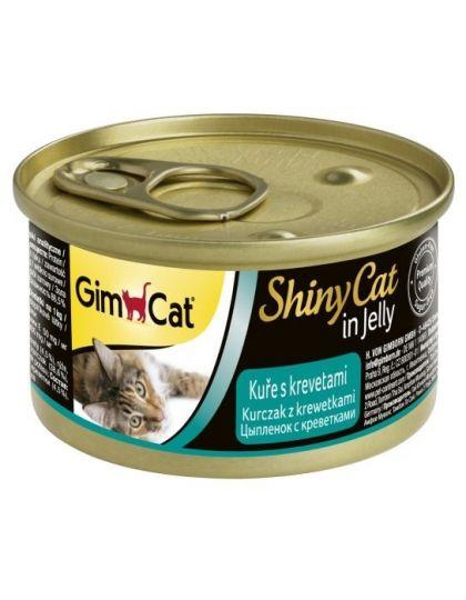 GimCat ShinyCat консервы для кошек из цыпленка с креветками