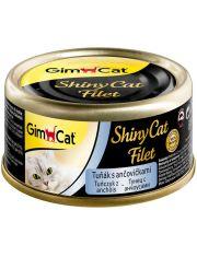 GimCat ShinyCat Filet консервы для кошек из тунца с анчоусами