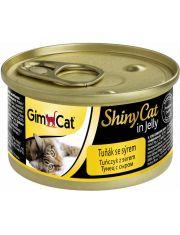 GimCat ShinyCat консервы для кошек из тунца с сыром