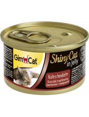 GimCat ShinyCat консервы для кошек из цыпленка с говядиной