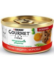 """""""Натуральные рецепты"""" консервы для кошек с тушеной говядиной и с морковью"""