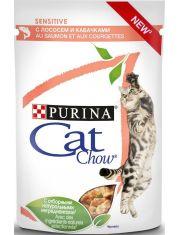 Adult Cat Sensitive паучи с лососем и кабачками кусочки в соусе для кошек с чувствительным пищеварением
