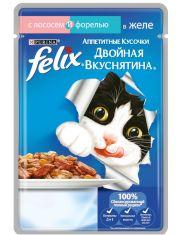 Двойная вкуснятина желе лосось с форелью для кошек