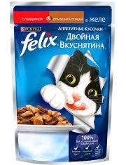 Двойная  вкуснятина говядина и домашняя птица в желе для кошек