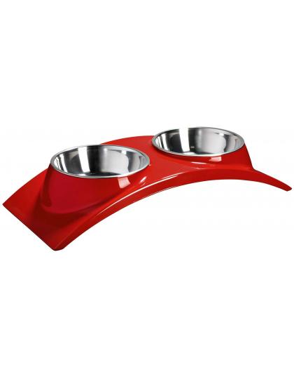 Миска двойная на меламиновой подставке элеганс красная