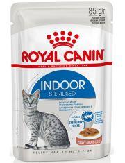 Indoor Sterilized кусочки в соусе для кошек постоянно живущих в помещении