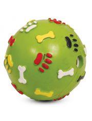 """Игрушка для собак из цельно-литой резины """"Мяч с лапками и косточками со звуком"""""""