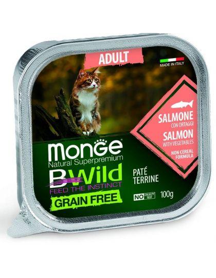 BWild GRAIN FREE беззерновые консервы из лосося с овощами для взрослых кошек