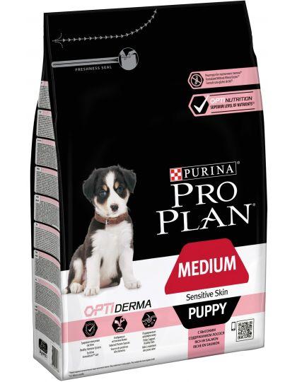 Medium Puppy Sensitive Skin с комплексом Optiderma для щенков средних пород с чувствительной кожей, лосось