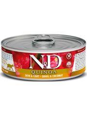 N&D QUINOA Skin & Coat беззерновой с киноа перепел/кокос, здоровье кожи и шерсти