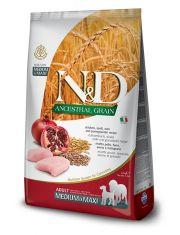 N&D ANCESTRAL GRAIN Chicken & Pomegranate adult medium & maxi низкозерновой корм для собак средних и крупных пород, курица, спельта, овес, гранат