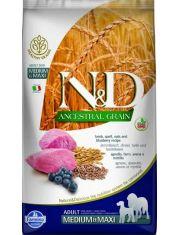 N&D ANCESTRAL GRAIN Lamb & Blueberry Adult medium & maxi низкозерновой корм для собак средних и крупных пород,  со спельтой, овсом, ягненком и черникой