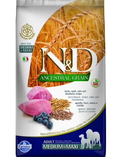 N&D Ancestral Dog Lamb & Blueberry Adult Medium & Maxi низкозерновой корм для собак средних и крупных пород ягненок с черникой