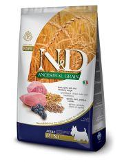 N&D ANCESTRAL GRAIN Lamb & Blueberry Adult Mini низкозерновой корм для собак мелких пород, ягненок, спельта, овес, черника