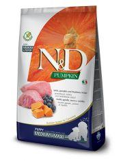 N&D PUMPKIN Lamb & blueberry Puppy Medium & Maxi  беззерновой корм для щенков средних и крупных пород ягненок, тыква, черника