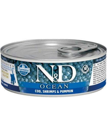 N&D OCEAN Cod, Shrimp & Pumpkin Kitten беззерновой корм для котят, треска, креветки, тыква