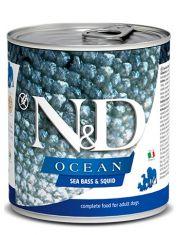 N&D OCEAN Sea Bass & Squid беззерновой корм для взрослых собак, сибас и кальмар